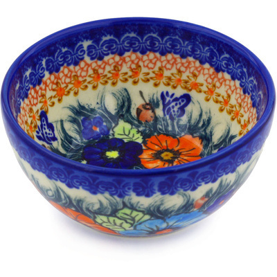 "Polish Pottery Bowl 5"" Butterfly Splendor UNIKAT"