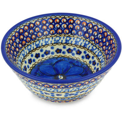 "Polish Pottery Bowl 5"" Cobalt Poppies UNIKAT"
