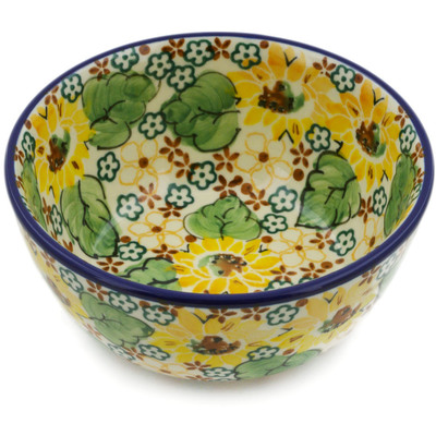 "Polish Pottery Bowl 5"" Country Sunflower UNIKAT"