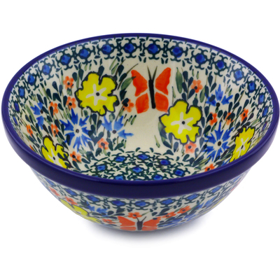 "Polish Pottery Bowl 5"" Daylight Garden UNIKAT"