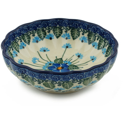 "Polish Pottery Bowl 5"" Forget Me Not"