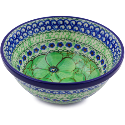 "Polish Pottery Bowl 5"" Green Pansies UNIKAT"