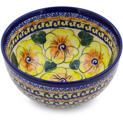 "Polish Pottery Bowl 5"" Lemon Poppies UNIKAT"
