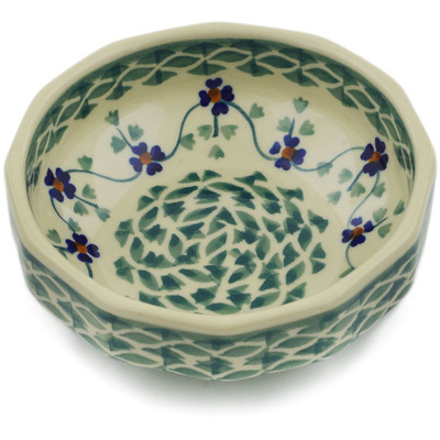 "Polish Pottery Bowl 5"" Lucky Blue Clover"