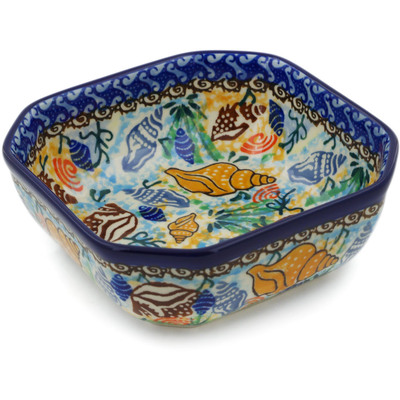 "Polish Pottery Bowl 5"" Ocean Whisper UNIKAT"