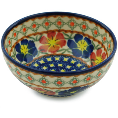 "Polish Pottery Bowl 5"" Paradise Poppy"