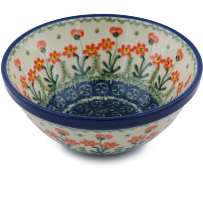 "Polish Pottery Bowl 5"" Peach Spring Daisy"