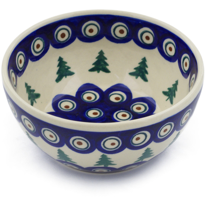 "Polish Pottery Bowl 5"" Peacock Pines"