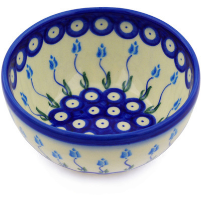 "Polish Pottery Bowl 5"" Peacock Tulip Garden"