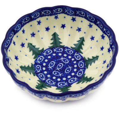 "Polish Pottery Bowl 5"" Piney Forest UNIKAT"