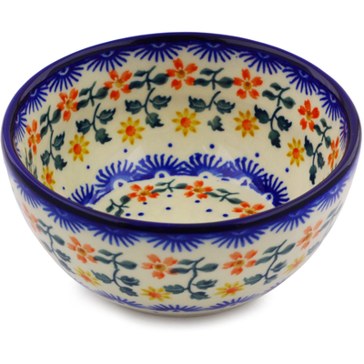 "Polish Pottery Bowl 5"" Red Sunflower"