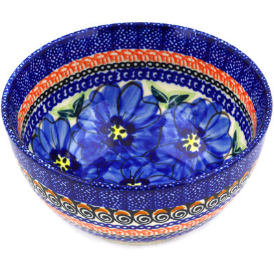 "Polish Pottery Bowl 5"" Regal Bouquet UNIKAT"