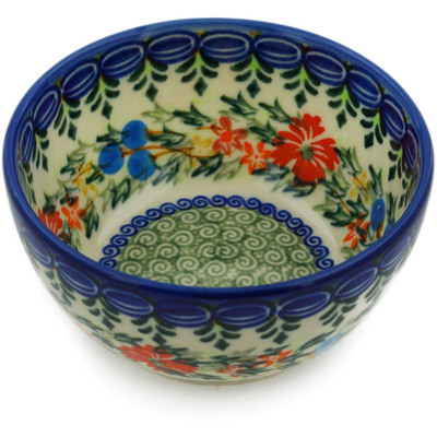 "Polish Pottery Bowl 5"" Ring Of Flowers UNIKAT"