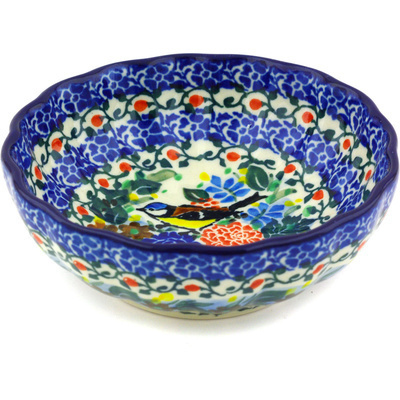 "Polish Pottery Bowl 5"" Robbin's Meadow UNIKAT"
