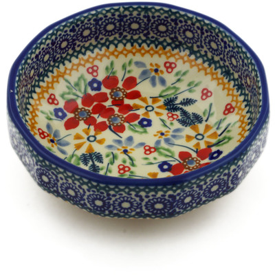 "Polish Pottery Bowl 5"" Ruby Bouquet UNIKAT"