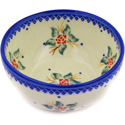 "Polish Pottery Bowl 5"" Simple Christmas"
