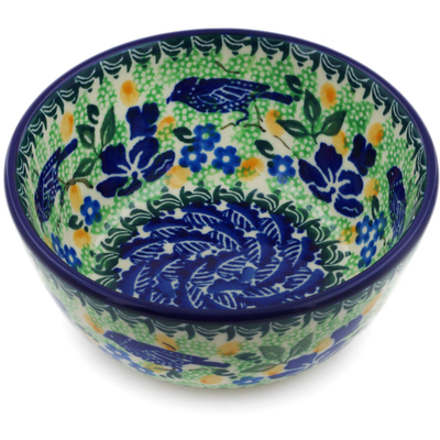 "Polish Pottery Bowl 5"" Sitting Blue Birds UNIKAT"