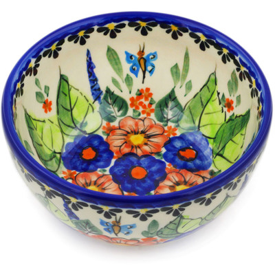 "Polish Pottery Bowl 5"" Spring Splendor UNIKAT"