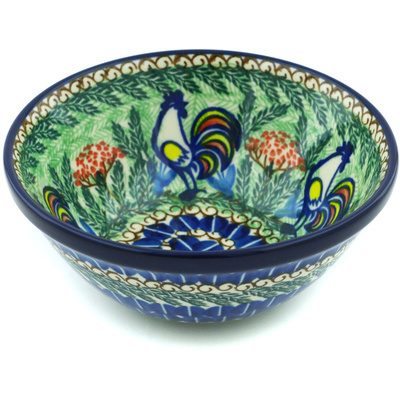"Polish Pottery Bowl 5"" Summer Rooster UNIKAT"