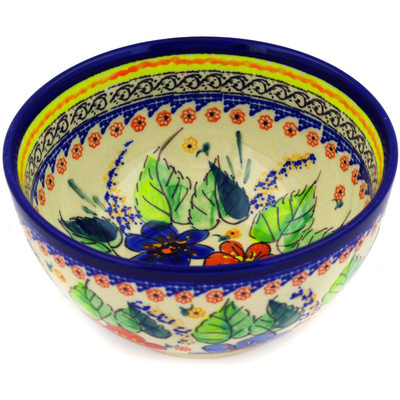 "Polish Pottery Bowl 5"" Summer Sleandor UNIKAT"