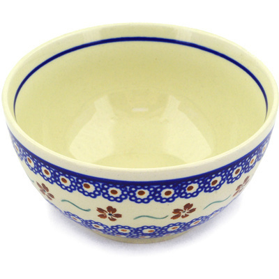"Polish Pottery Bowl 5"" Sweet Red Flower"