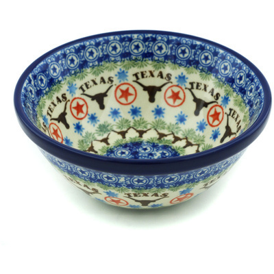 "Polish Pottery Bowl 5"" Texas Longhorns"