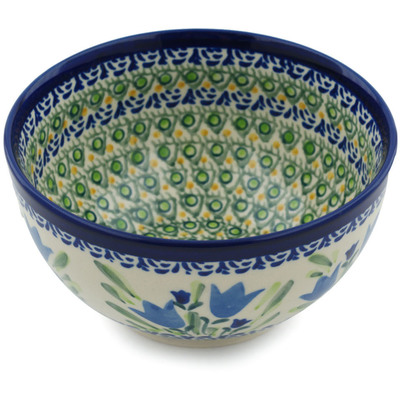 "Polish Pottery Bowl 5"" Tulip Fields UNIKAT"