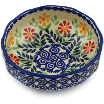"Polish Pottery Bowl 5"" Wave Of Flowers"
