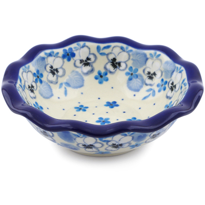 "Polish Pottery Bowl 5"" White Pansy"