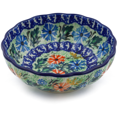 "Polish Pottery Bowl 5"" Wildflowers In The Wind UNIKAT"