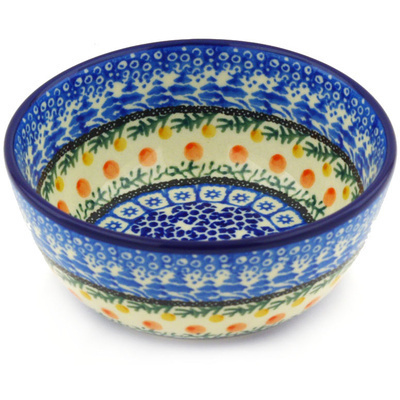 "Polish Pottery Bowl 5"" Winter Forest UNIKAT"
