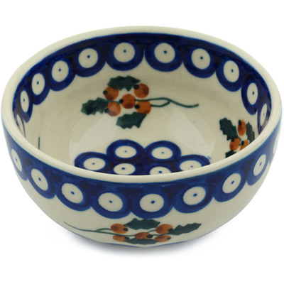 "Polish Pottery Bowl 5"" Yellow Holly Berries"