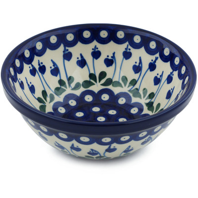 "Polish Pottery Bowl 6"" Bleeding Heart Peacock"