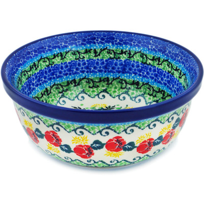 "Polish Pottery Bowl 6"" Bleu Jay Meadow UNIKAT"