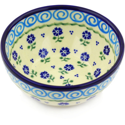"Polish Pottery Bowl 6"" Blue Bursts"