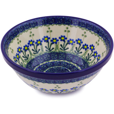 "Polish Pottery Bowl 6"" Blue Daisy Circle"