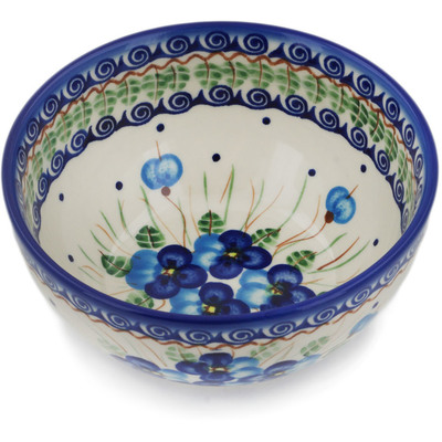 "Polish Pottery Bowl 6"" Blue Pansy"