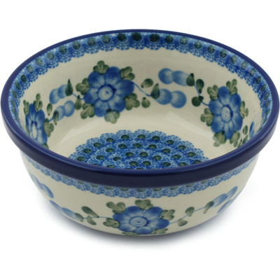 "Polish Pottery Bowl 6"" Blue Poppies"