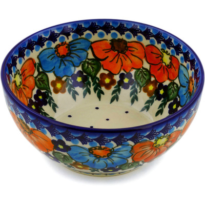 "Polish Pottery Bowl 6"" Bold Poppies UNIKAT"