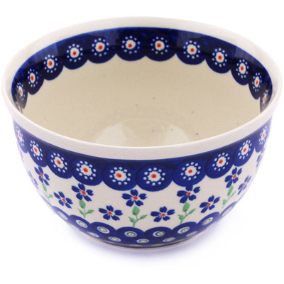 "Polish Pottery Bowl 6"" Bright Peacock Daisy"