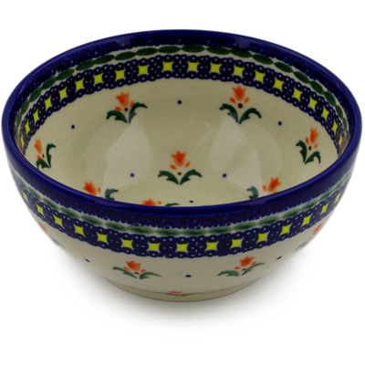 "Polish Pottery Bowl 6"" Cocentric Tulips"