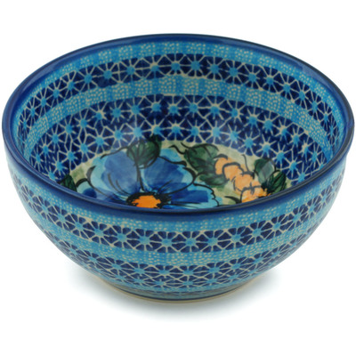 "Polish Pottery Bowl 6"" Corn In The Blue UNIKAT"