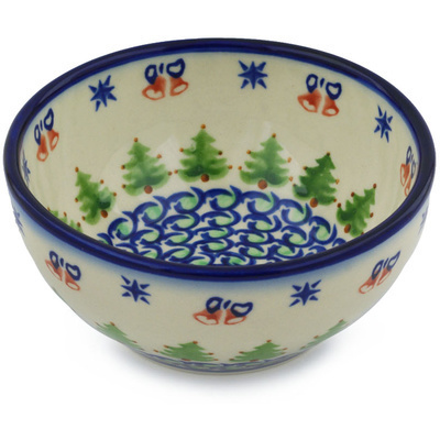 "Polish Pottery Bowl 6"" Evergreen Bells"