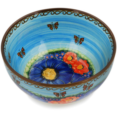 "Polish Pottery Bowl 6"" Field Of Butterflies UNIKAT"