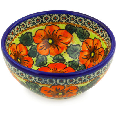 "Polish Pottery Bowl 6"" Fiery Poppies UNIKAT"