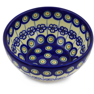 "Polish Pottery Bowl 6"" Flowering Peacock"