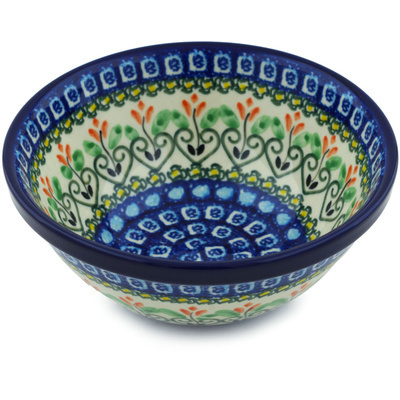 "Polish Pottery Bowl 6"" Heart Vines UNIKAT"