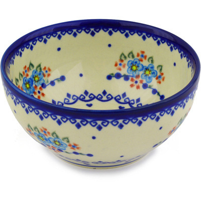 "Polish Pottery Bowl 6"" Hearts And Flowers"