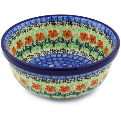 "Polish Pottery Bowl 6"" Maraschino"