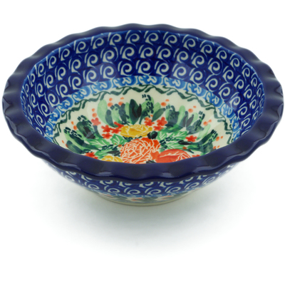 "Polish Pottery Bowl 6"" Mauve Meadow UNIKAT"